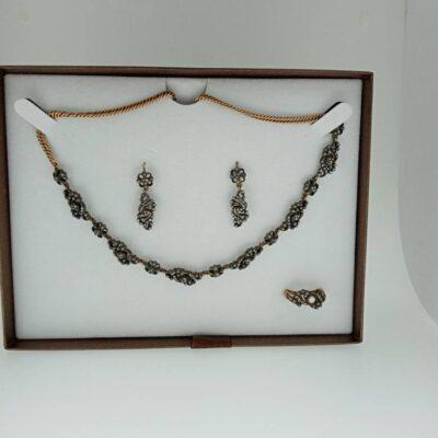 Conjunto antigo de prata e ouro